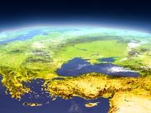 Turkiet och Black Sea region från utrymme vektor illustrationer