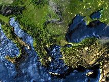 Turkiet och Black Sea region på jord på natten - synligt hav fl vektor illustrationer