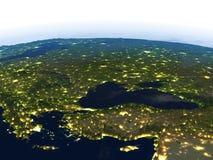 Turkiet och Black Sea region på natten på planetjord stock illustrationer