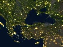 Turkiet och Black Sea region på natten på planetjord royaltyfri illustrationer