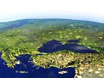 Turkiet och Black Sea region på natten på realistisk modell av jord vektor illustrationer