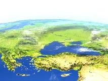 Turkiet och Black Sea region på planetjord stock illustrationer