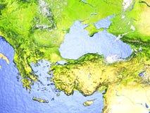 Turkiet och Black Sea region på realistisk modell av jord stock illustrationer