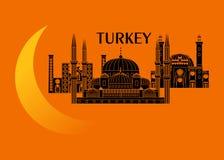Turkiet och måne Royaltyfria Foton