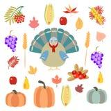 Turkiet pumpor och grönsaker på en vit bakgrund stock illustrationer