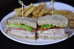 Turkiet smörgås på vetebröd med pommes frites Fotografering för Bildbyråer