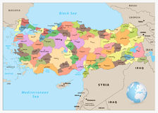 Turkiet specificerade den administrativa översikten Arkivbild