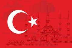 Turkiet symbol med den blåa moskévektorn Royaltyfria Bilder