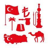 Turkiet symboluppsättning Turkisk nationell symbol Statligt traditionellt tecken Arkivfoton