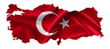 Turkiet ?versikt med flaggan stock illustrationer