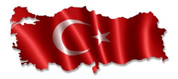 Turkiet ?versikt med flaggan vektor illustrationer