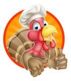 Turkije in Chef-kok Hat Stock Afbeelding