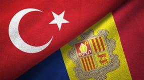 Turkije en Andorra twee vlaggen textieldoek, stoffentextuur royalty-vrije illustratie