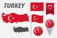 Turkije Inzameling van symbolen in kleuren nationale vlag op diverse die voorwerpen op witte achtergrond worden geïsoleerd Vlag,  royalty-vrije illustratie