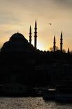 Turkije. Istanboel. Silhouet van Yeni Cami (Moskee) stock afbeeldingen