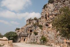 Turkije, Mirre, Lycian-begrafenis in de berg stock foto