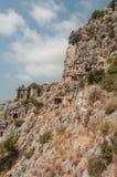 Turkije, Mirre, Lycian-begrafenis in de berg stock foto's
