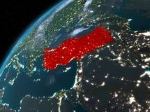 Turkije op aarde in ruimte bij nacht Stock Foto's