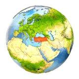 Turkije in rood op volledige Aarde Royalty-vrije Stock Afbeeldingen