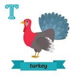 Turkije T brief Leuk kinderen dierlijk alfabet in vector grappig Stock Fotografie