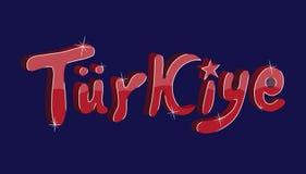 Turkije, tekstontwerp vectorkalligrafie Typografieaffiche Stock Foto
