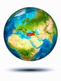 Turkije ter wereld met witte achtergrond Stock Foto's