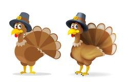 Turkije in van de de dankzeggingsvakantie van de pelgrimshoed gelukkig de vierings 3d beeldverhaal en de vlakke vectorillustratie royalty-vrije illustratie