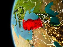 Turkije van ruimte in avond Royalty-vrije Stock Foto's