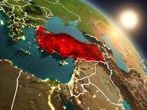 Turkije van ruimte tijdens zonsopgang Stock Foto's