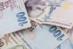 Turkish завертывает лиры в бумагу Стоковая Фотография RF