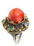 turkish серебра кольца тахты золота коралла Стоковое Изображение RF