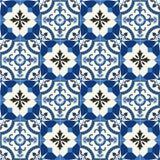 Turkish шикарной безшовной картины белый, марокканец, португальские плитки, Azulejo, орнамент Стоковая Фотография