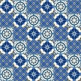 Turkish шикарной безшовной картины белый, марокканец, португальские плитки, Azulejo, орнамент Стоковая Фотография RF