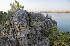 Turkish, Adiyaman, 26 June, - 2019 : Gazihandede view dam and big rock. royalty free stock images