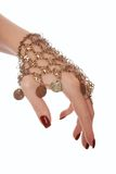 Turkish adornment for belly dance. Is on womans hand Stock Photography