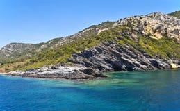 Turkish Aegean Coast. View of the Turkish coast of the Aegean Sea royalty free stock photo