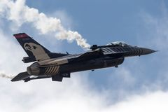 Turkish Air Force General Dynamics F-16CG Fighting Falcon 91-0011 of the `Solo Turk` display team. RAF Waddington, Lincolnshire, UK - July 4, 2014: Turkish Air Royalty Free Stock Photos
