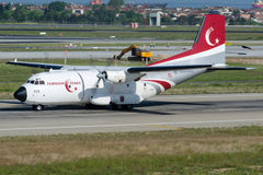 69-033 Turkish Air Force, Transall C-160D Turkish Stars. 69-033 is rolling for take-off on runway 35L , LTBA Istanbul Ataturk Airport, May 15, 2015 Royalty Free Stock Image