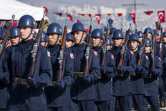 Turkish airforce soldiers walking. Royalty Free Stock Photo