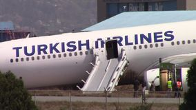 Turkish Airlines Airbus crash at Kathmandu airport. KATHMANDU, NEPAL - MARCH 4, 2015: Turkish Airlines flight THY726 crashed earlier in the morning at Tribhuvan stock footage