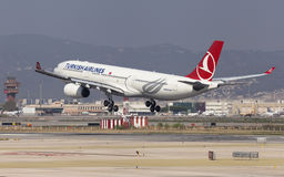 Turkish Airlines Airbus A330 Landing at Barcelona Stock Photos