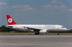 Turkish Airlines Airbus A320. At Prague airport Royalty Free Stock Photos