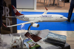 Turkish airlines airplane model at Bit 2014, international tourism exchange in Milan, Italy Royalty Free Stock Photo