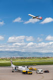 Turkish Airlines airplane taking off from Zagreb Airport Stock Photography