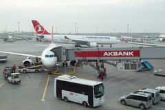 Turkish Airlines Airplanes boarding at Istanbul Ataturk Airport. Istanbul, Turkey - January 29, 2016: Turkish Airlines Airplanes boarding at Istanbul Ataturk Stock Photography