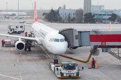 Turkish Airlines Airplanes. Istanbul, Turkey - January 29, 2016: Turkish Airlines airplanes boarding at Istanbul Ataturk Airport Royalty Free Stock Images