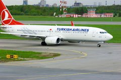 Turkish Airlines Boeing 737-8F2 aircraft  in Pulkovo International airport in Saint-Petersburg, Russia Royalty Free Stock Images