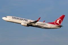 Turkish Airlines Boeing 737 flygplan Arkivbild