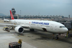 Turkish Airlines Boeing 777-300 at Hong Kong Airport Royalty Free Stock Photo
