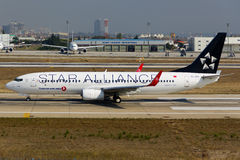 Turkish Airlines Boeing 737-800 Star Alliance Immagine Stock Libera da Diritti